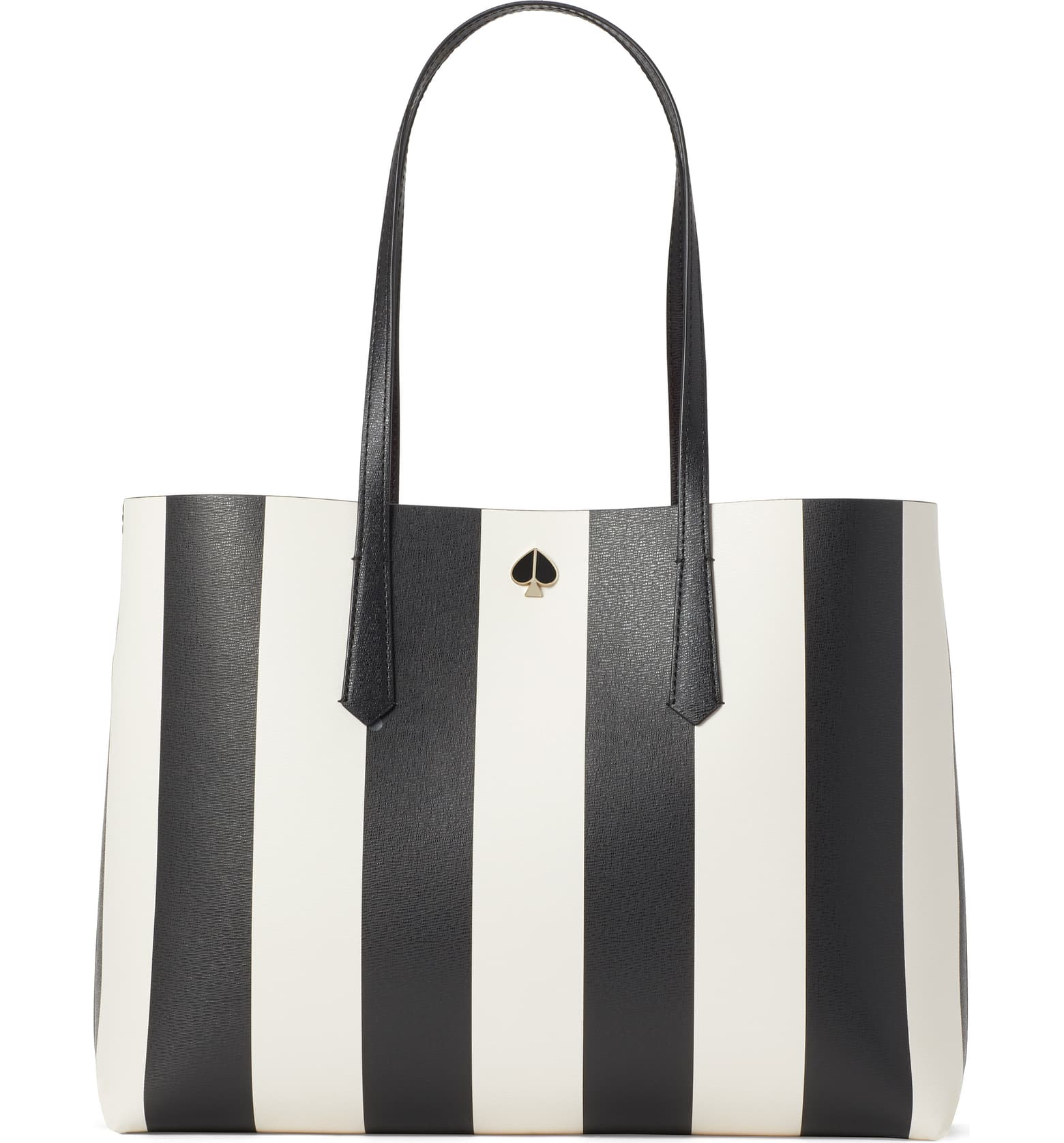 Black and white striped vegan tote bag.