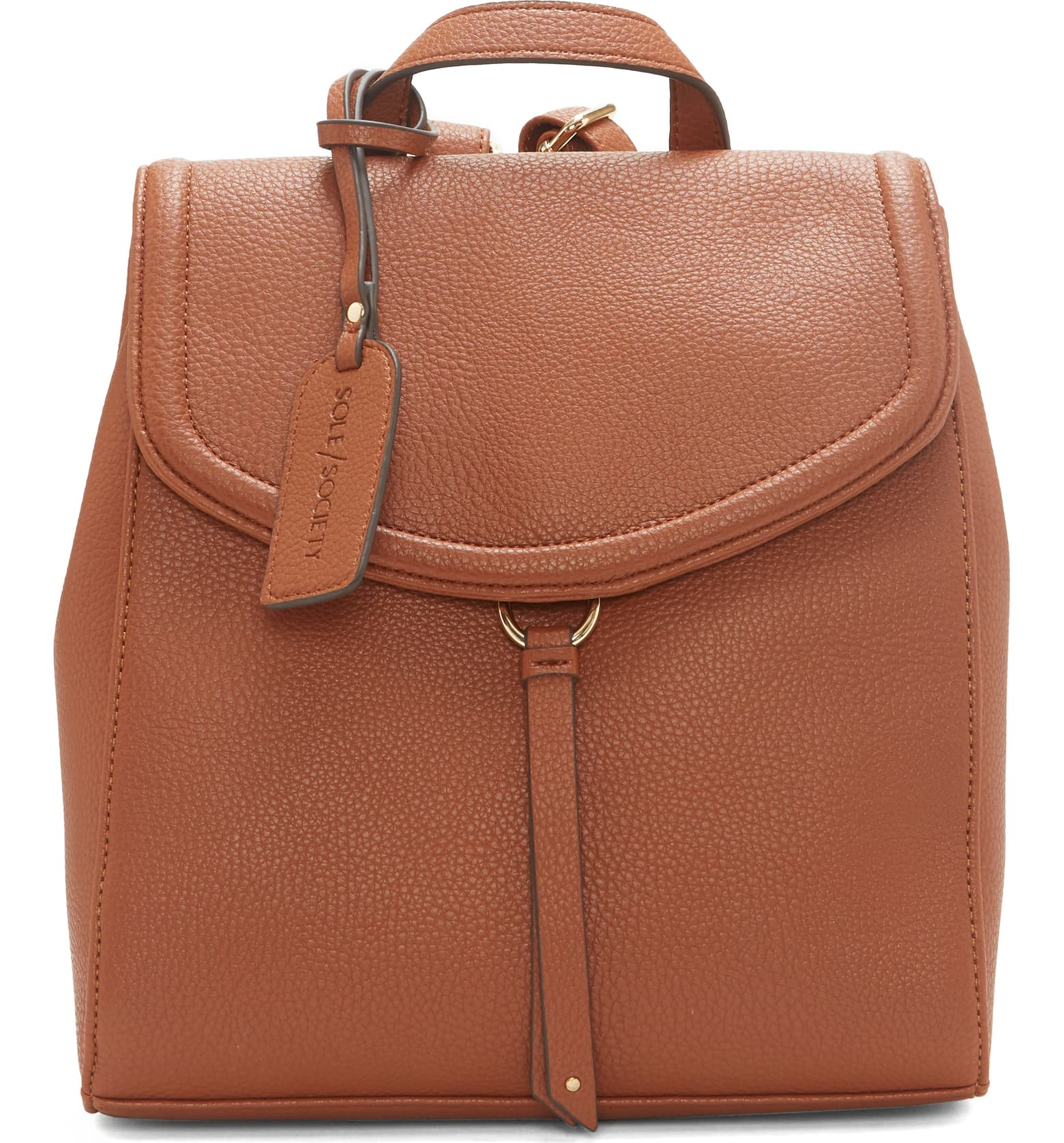 Cognac leather-free knapsack