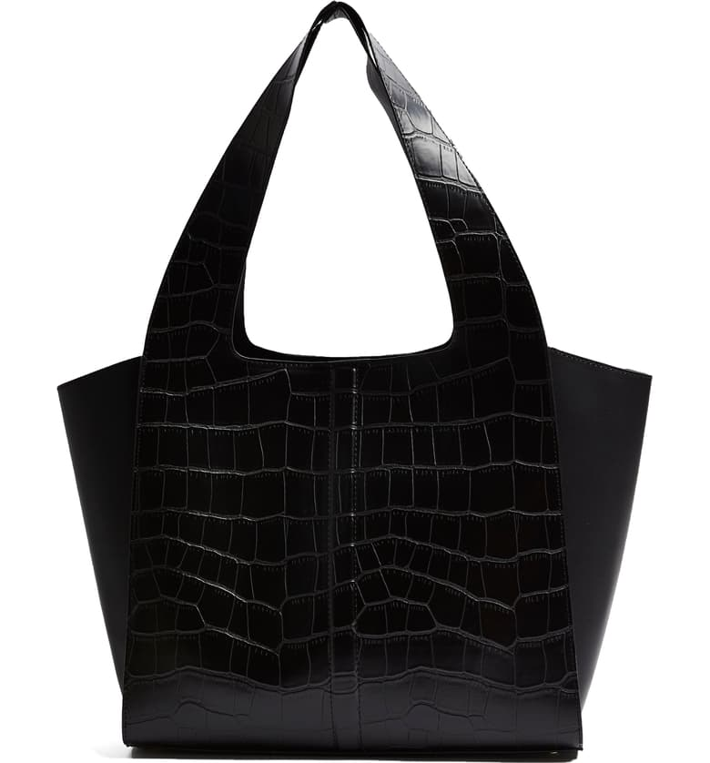 Black eco-friendly, faux crocodile tote bag.